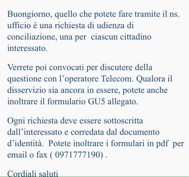 Risposta del Corecom Basilicata