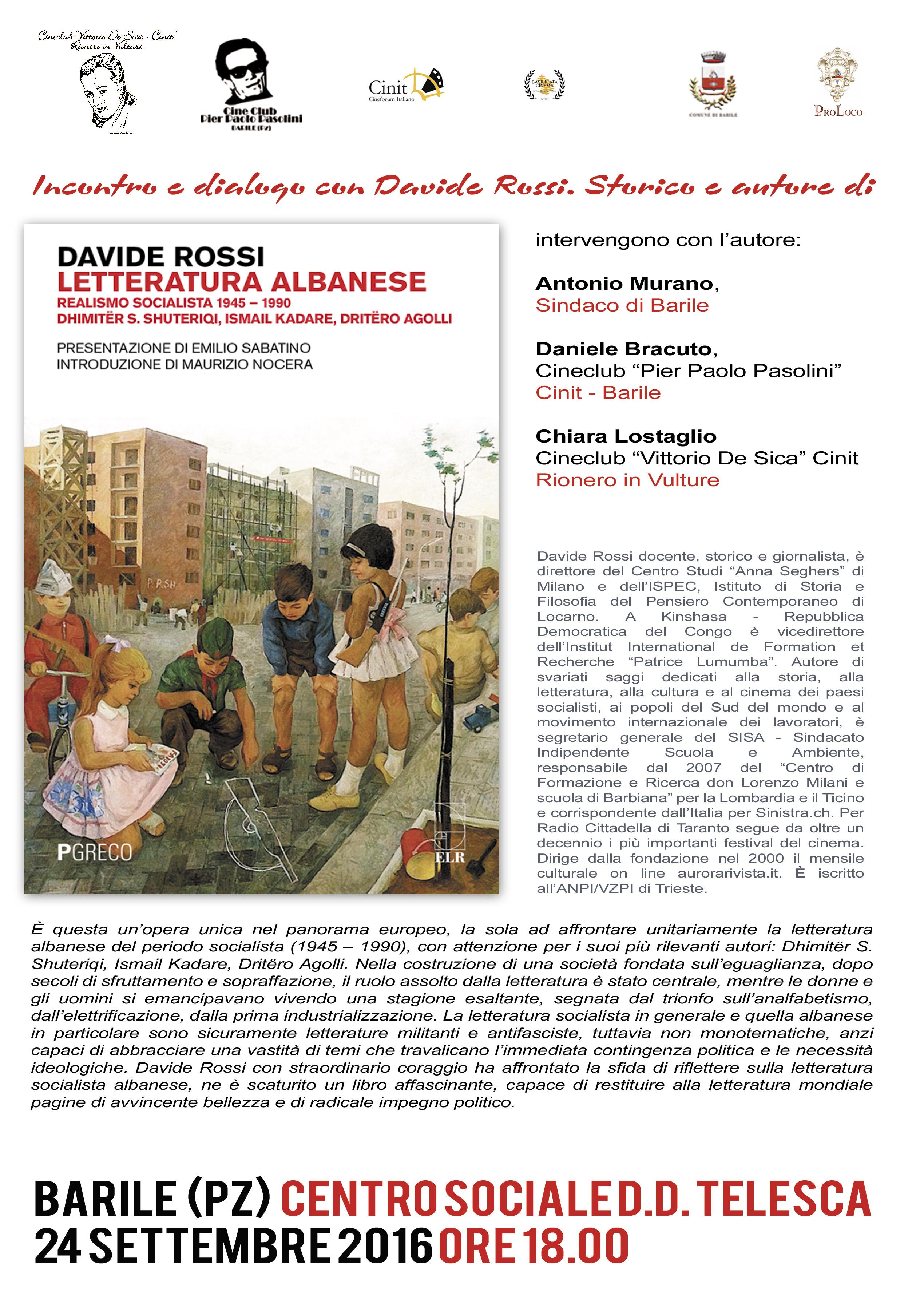"""""""LETTERATURA ALBANESE REALISMO SOCIALISTA 1945-1990"""", PRESENTAZIONE DEL LIBRO a Barile (PZ), 24 settembre ore 18"""