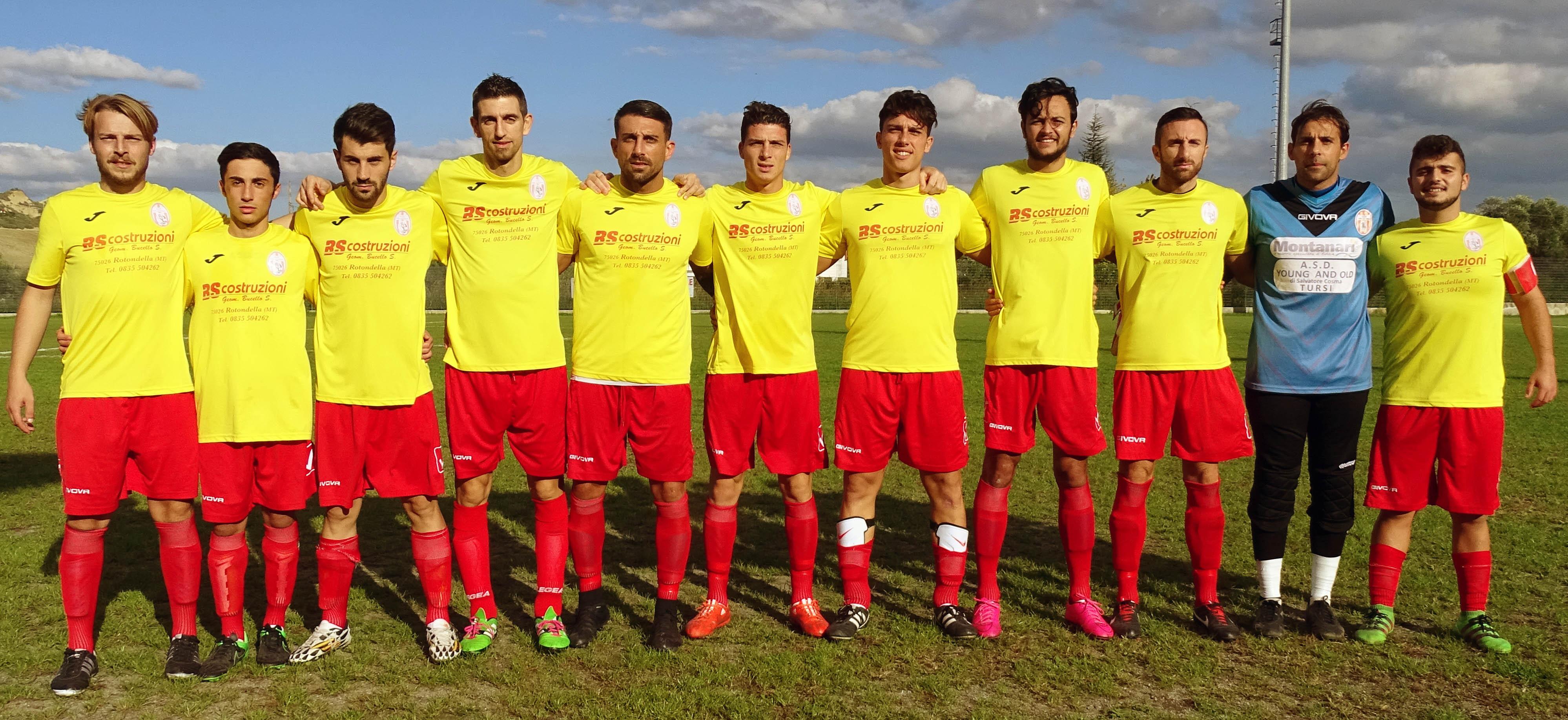 La formazione del Tursi Calcio 2008, di domenia 30 ottobre, con il Ferrandina Calcio