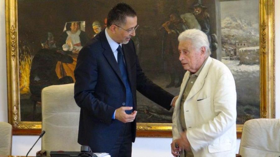 Il presidente della Regione BasilicataMarcello Pittella e Luigi Di Gianni, riconfermato presidente della Fondazione Lucana Film Commission