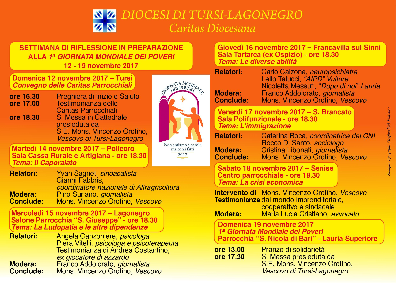La Settimana di riflessione in preparazione alla prima Giornata dei Poveri dal 12 al 19 novembre una serie di appuntamenti promossi da Caritas diocesana
