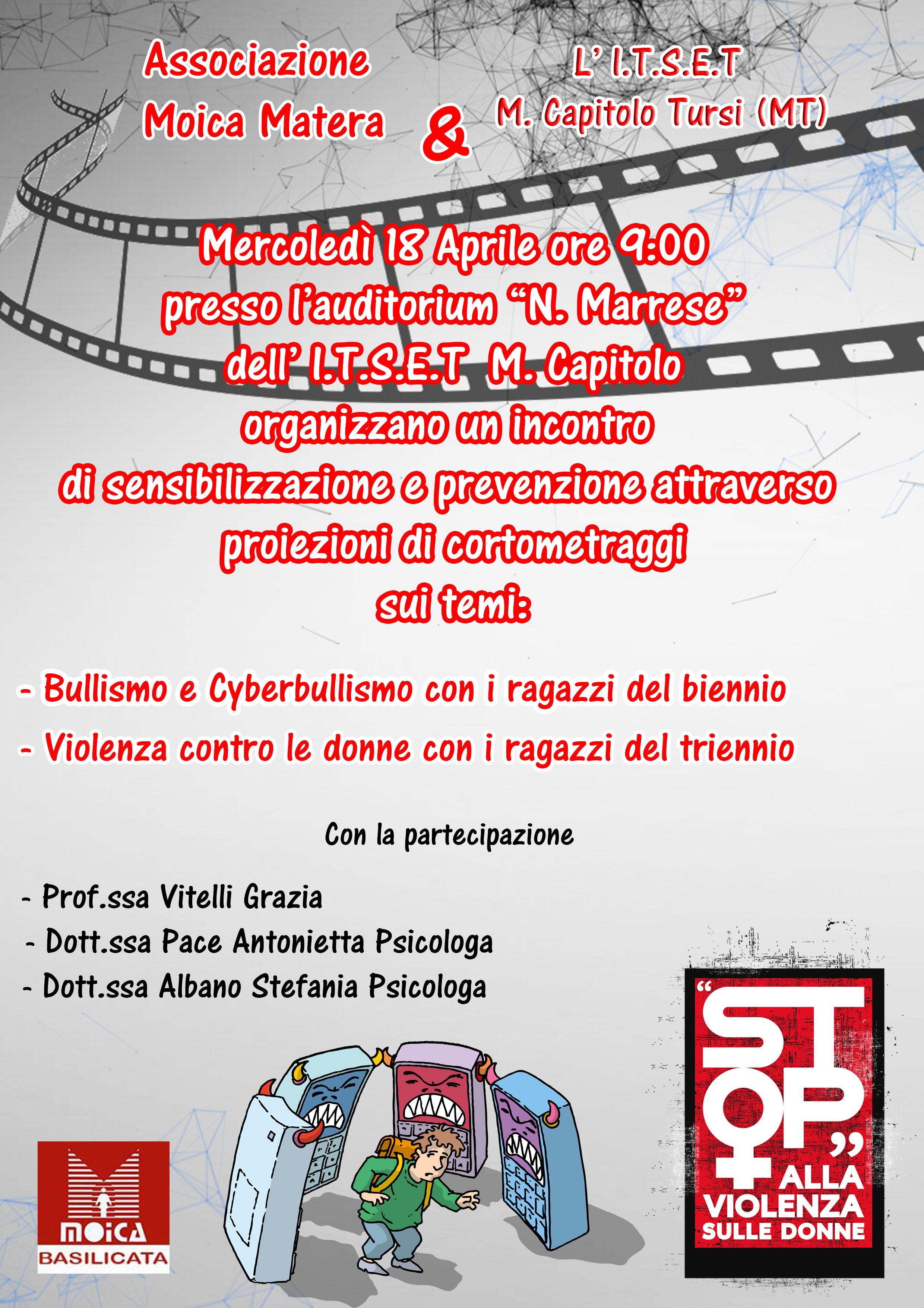 """All'Itset """"M. Capitolo"""" di Tursi si parla di bullismo, cyberbullismo e violenza sulle donne"""