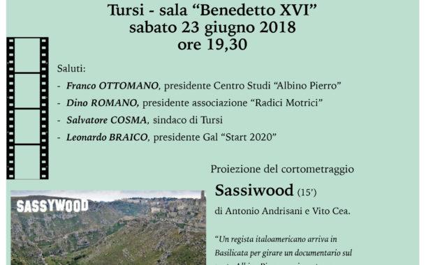 A Tursi, proiezione di SASSIWOOD, il corto di A. Anrisani e V. Cea dedicato al poeta A. Pierro, sabato 23 giugno, ore 19,30, nell'ex cinema