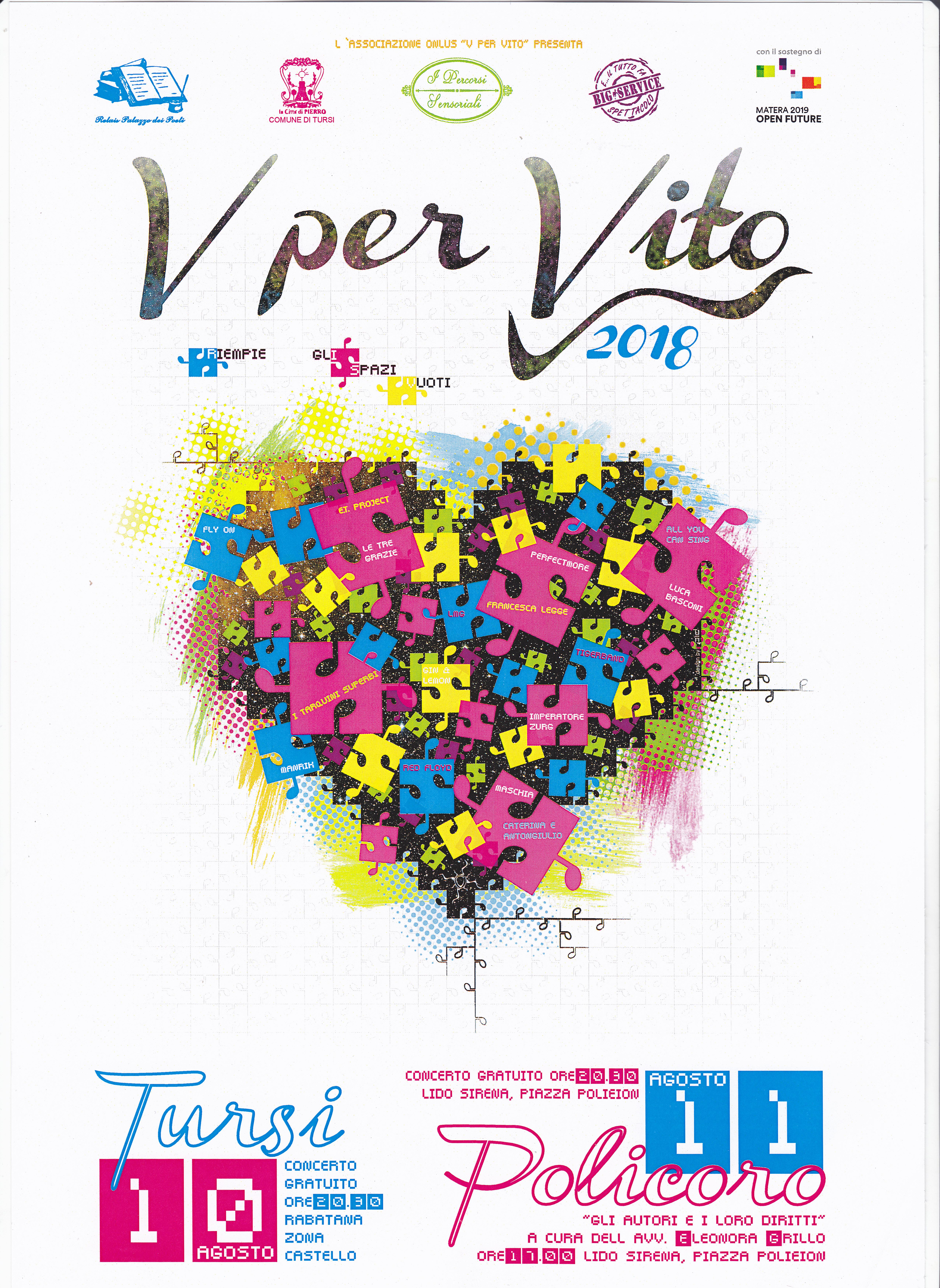 """""""V per Vito 2018 riempie gli spazi vuoti"""", il 10 e l'11 agosto, nella Rabatana di Tursi e a Policoro, con due giorni di concerti e seminari del tutto gratuiti"""
