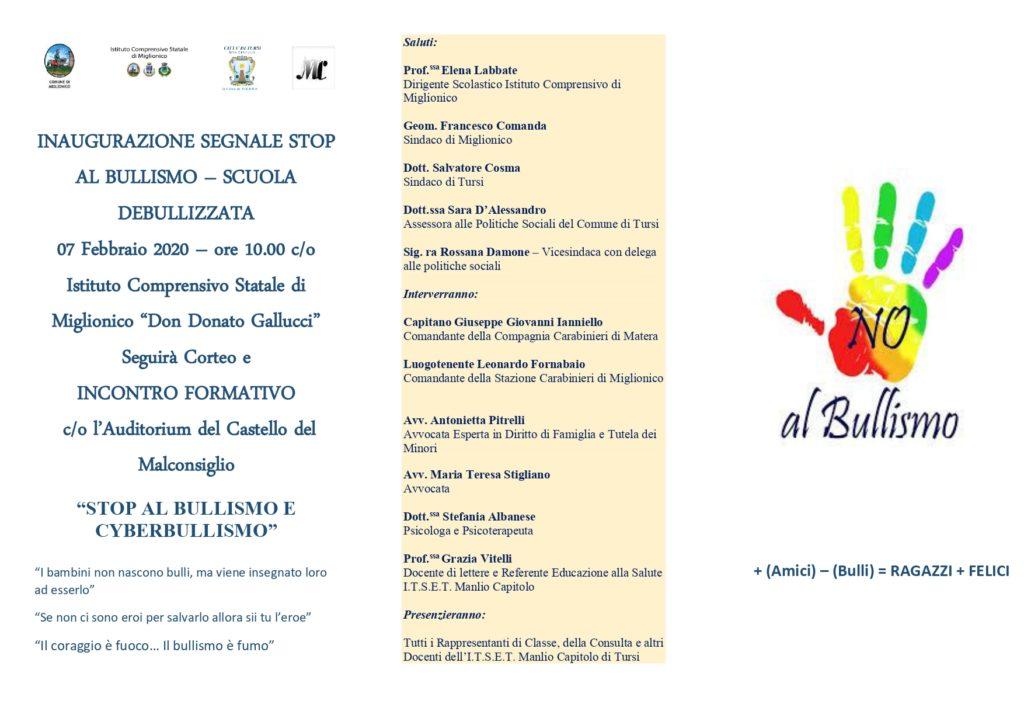 """Manifestazione scolastica contro il bullismo, all'Istituto """"D.Gallucci""""  di Miglionico con l'Itset """"M.Capitolo"""" di Tursi,  e incontro formativo al """"Malconsiglio"""", venerdì 7 febbraio, ore 10"""
