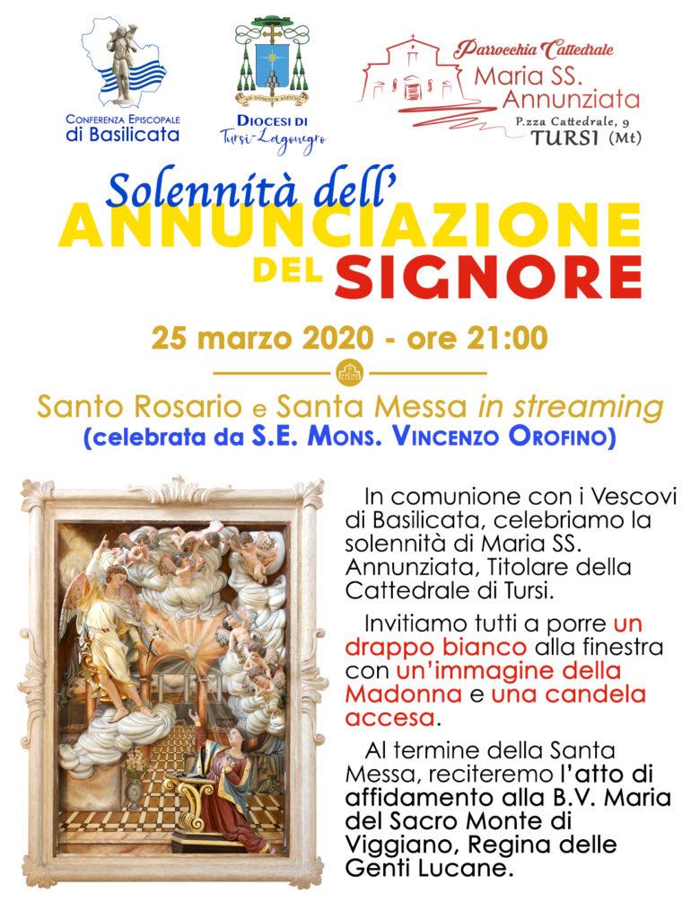 Celebrazione dell'Annunciazione del Signore in streaming dalla Cattedrale di Tursi, mercoledì 25 marzo, alle ore 21, rosario e messa