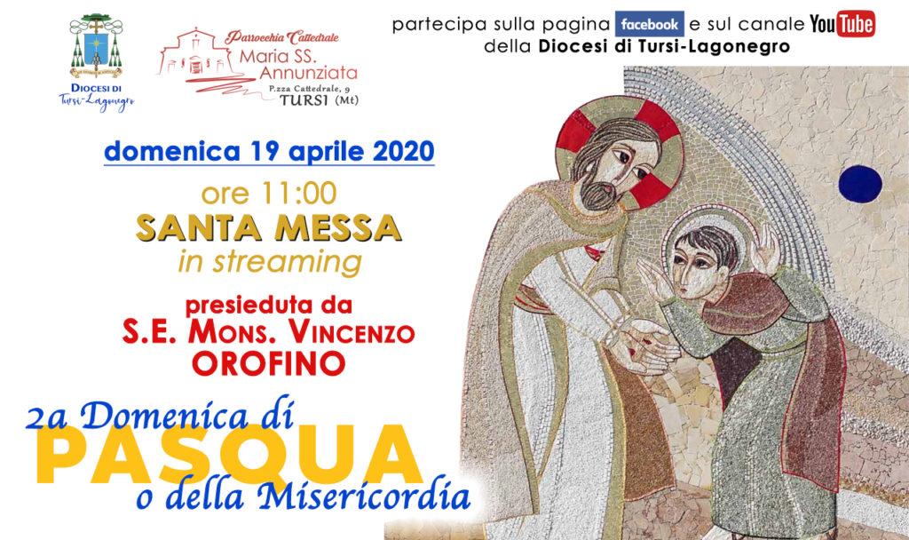 Seconda Domenica di Pasqua, 19 aprile, ore 11, messa presieduta dal Vescovo Orofino in diretta dalla Cattedrale di Tursi, dove la sera arriverà la statua della Madonna di Anglona